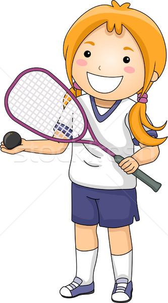 Fallabda lány illusztráció viselet sportok labda Stock fotó © lenm