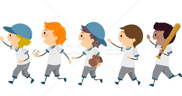 Baseball chodzić ilustracja grupy młodych gracze Zdjęcia stock © lenm
