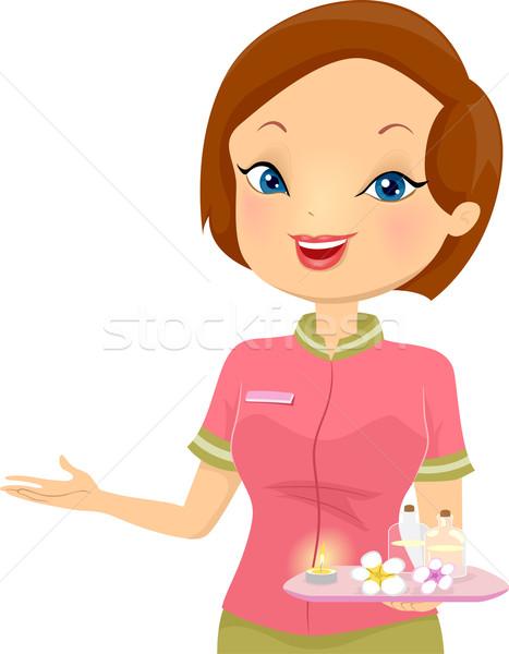 Nina recepcionista spa ilustración femenino mujer Foto stock © lenm