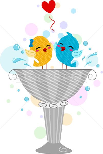 Játszik madár fürdőkád illusztráció madarak állatok Stock fotó © lenm