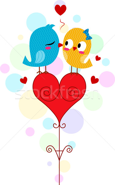Lovebird Kiss Stock photo © lenm