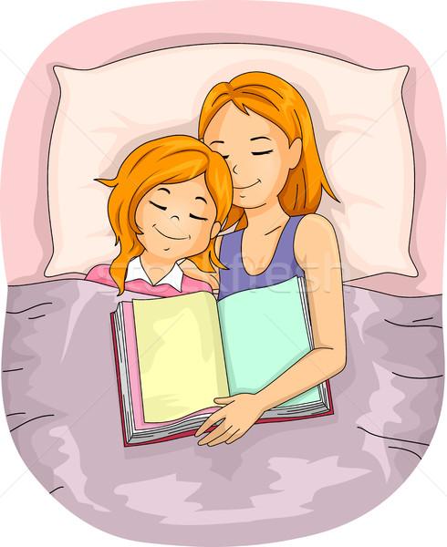 Anya gyerek lány ágy alszik könyv Stock fotó © lenm