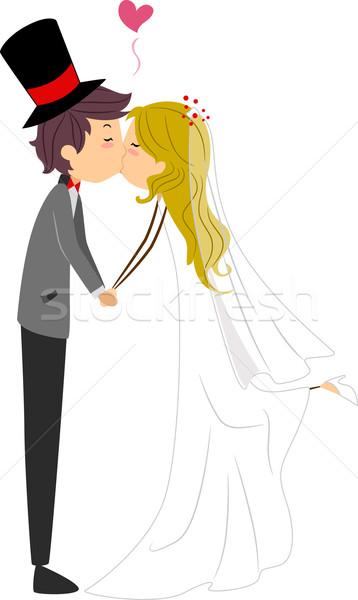Esküvő csók illusztráció ifjú pár osztás lány Stock fotó © lenm