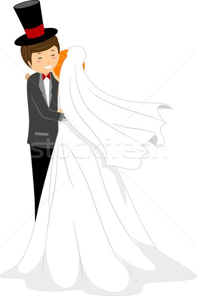 Esküvő ölelés illusztráció menyasszony ölel vőlegény Stock fotó © lenm