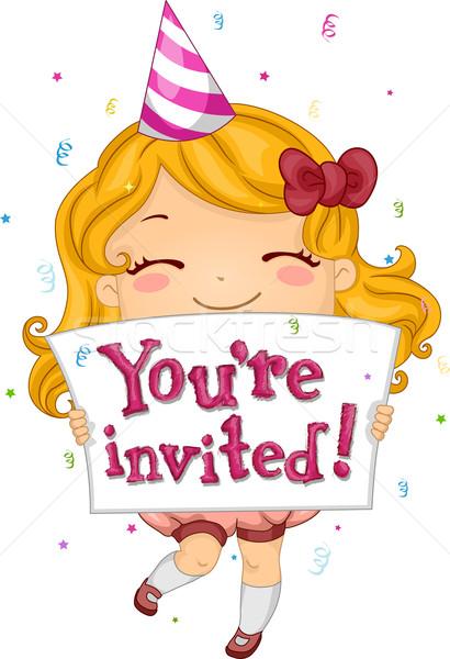 Stockfoto: Verjaardag · uitnodiging · illustratie · kid · mensen · meisje