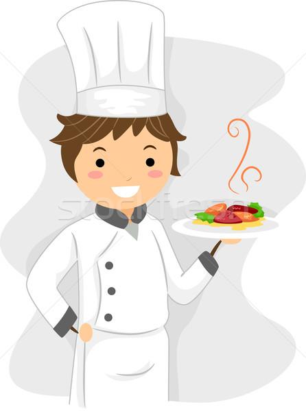 Chef illustratie werk restaurant kok tekening Stockfoto © lenm