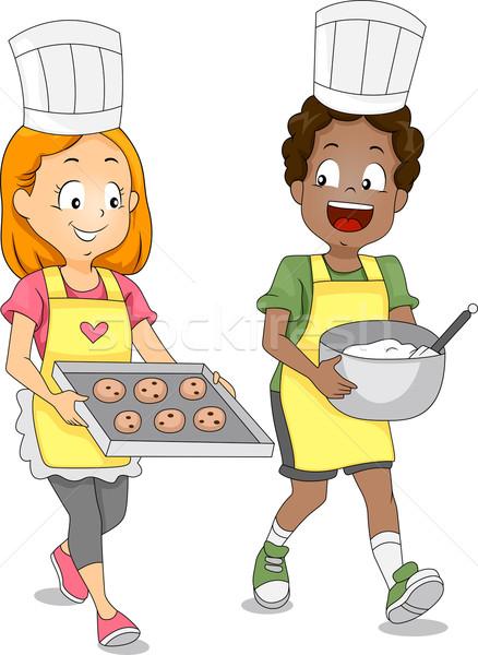 Kids Baking Cookies Stock photo © lenm