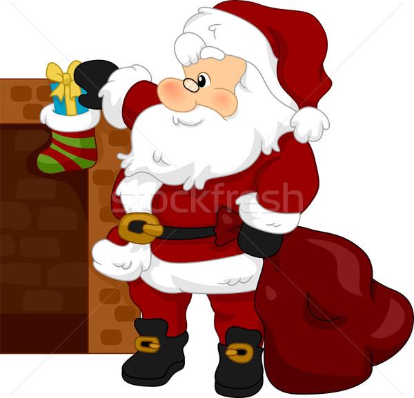 Karácsony harisnya illusztráció mikulás ajándék ajándék Stock fotó © lenm