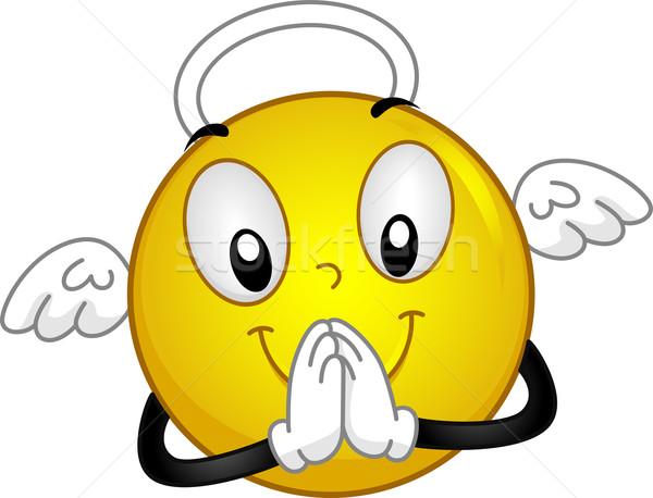 Angyali emotikon illusztráció háló imádkozik ima Stock fotó © lenm