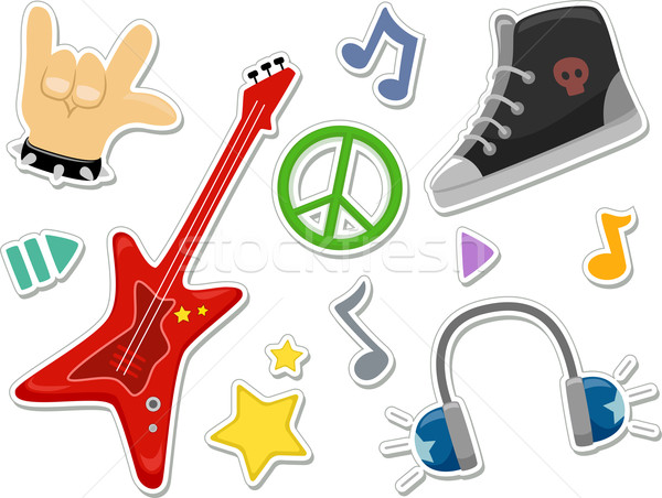 Kő matricák illusztráció rockzene elemek konzerv Stock fotó © lenm