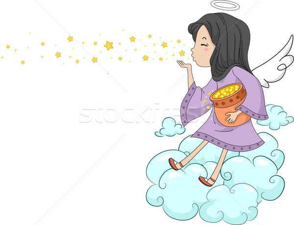 Nina ángel estrellas ilustración nubes Foto stock © lenm