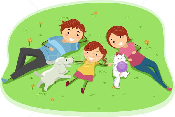 Familie huisdieren illustratie genieten dag park Stockfoto © lenm