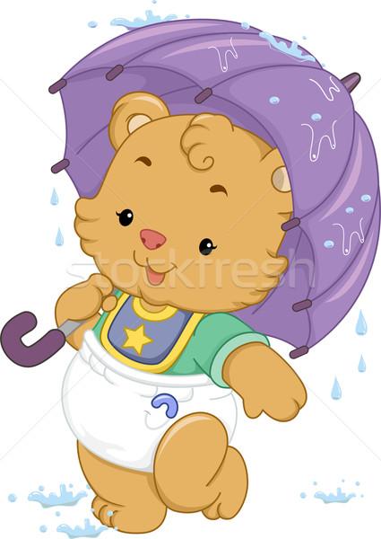 Baby Bear Umbrella Stock photo © lenm