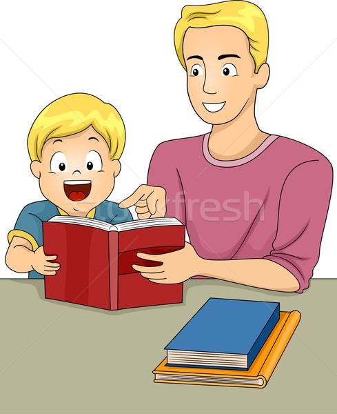 Vader zoon lezing boeken illustratie boek samen Stockfoto © lenm
