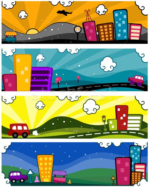 Kentsel afişler dört tasarımlar dizayn Cityscape Stok fotoğraf © lenm