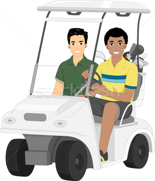 Golf carrito amigos ilustración par masculina Foto stock © lenm