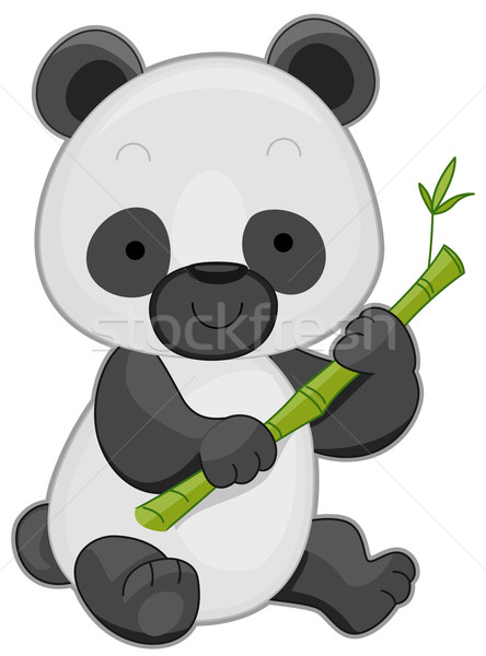 Foto stock: Panda · ilustração · bonitinho · bambu · vara