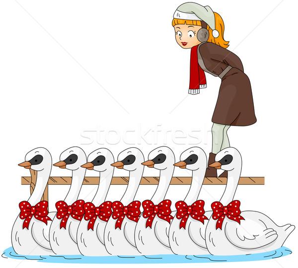 12 natal ilustração mulher assistindo natação Foto stock © lenm