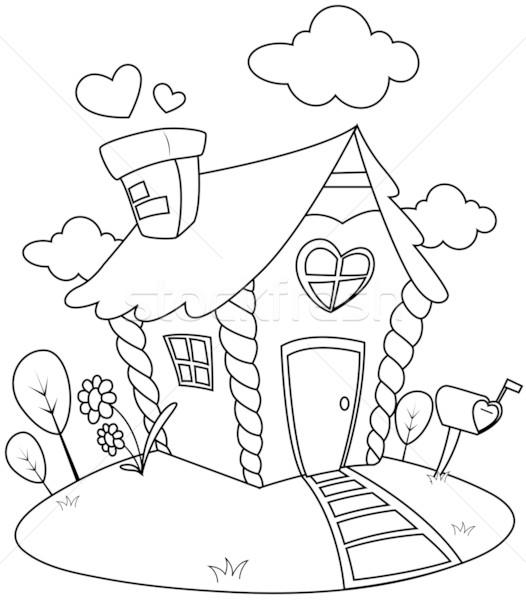 Stock photo: Line Art Small House