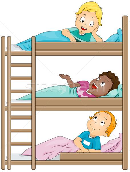 Gyerekek tábor illusztráció osztás egy másik Stock fotó © lenm
