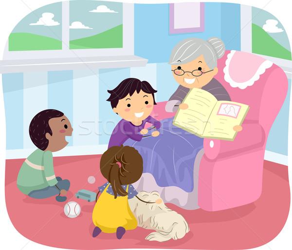 Ragazzi libro storia illustrazione ascolto nonna Foto d'archivio © lenm