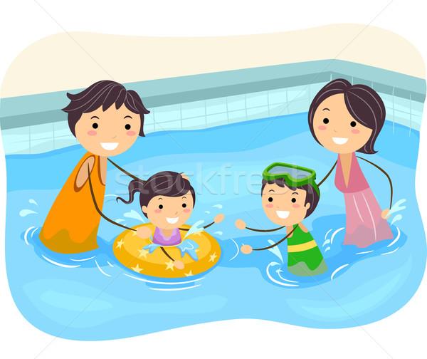 Stickman Family Swimming Pool Stock photo © lenm