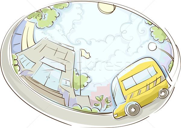 Schoolbus ontwerp illustratie gebouw kunst bus Stockfoto © lenm