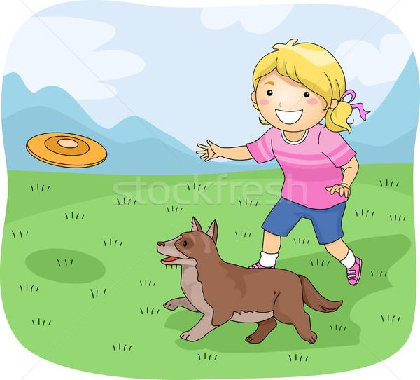 Gyerek lány frizbi kutya illusztráció kislány Stock fotó © lenm