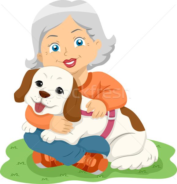 Senior vrouw knuffel hond illustratie vrouwelijke Stockfoto © lenm