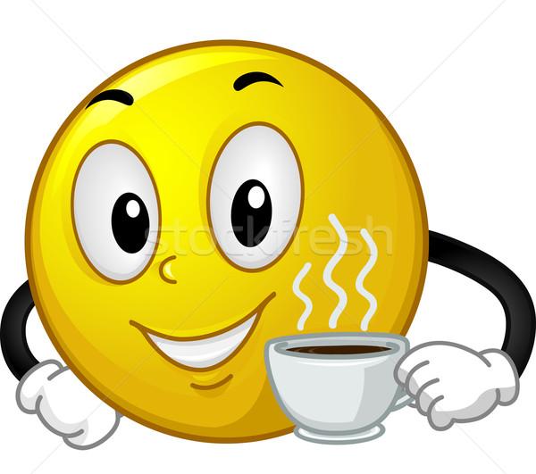 Mascote emoticon café ilustração copo Foto stock © lenm
