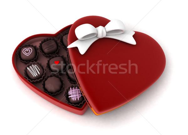 örnek açmak hediye kutu tatlı Stok fotoğraf © lenm
