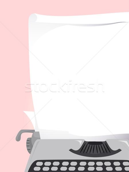 Maszyny do pisania papieru ilustracja kawałek projektu ramki Zdjęcia stock © lenm