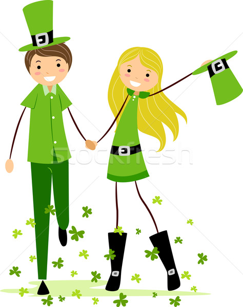 Couple saint jour costumes illustration femme Photo stock © lenm