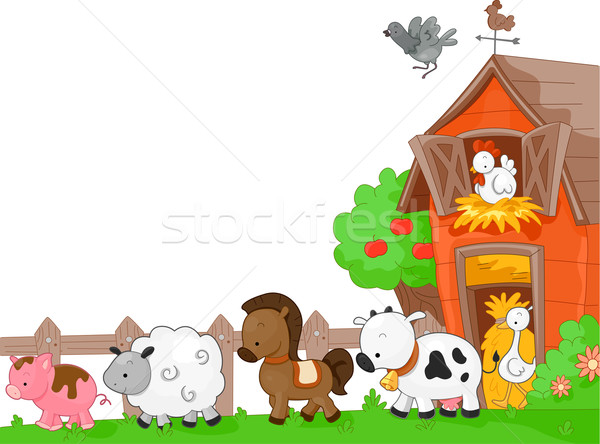 Animaux de la ferme illustration marche vache poulet moutons Photo stock © lenm