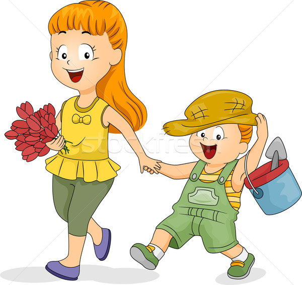 Gardening Siblings Stock photo © lenm