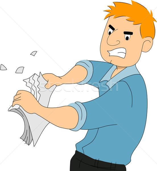 парень писателя слез бумаги иллюстрация мальчика Сток-фото © lenm
