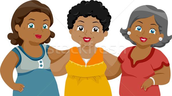 Vrienden illustratie ouderen zwarte vrouwelijke Stockfoto © lenm