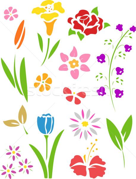 花 ステンシル 実例 デザイン 漫画 ベクトル ストックフォト © lenm