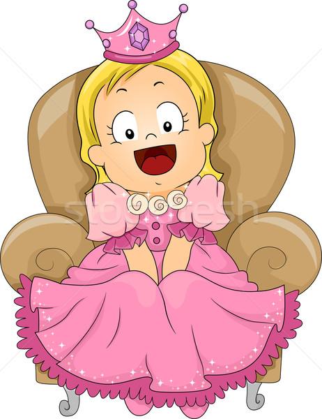 Kicsi hercegnő illusztráció aranyos kislány jelmez Stock fotó © lenm