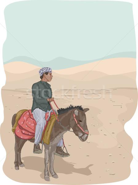 Ezel woestijn illustratie man paardrijden kunst Stockfoto © lenm