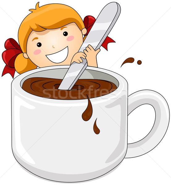 Foto d'archivio: Ragazza · cioccolata · calda · alimentare · bere · Cup