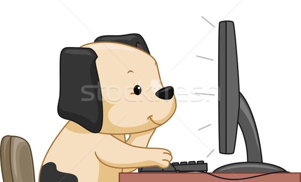 Online keresés kutya illusztráció aranyos számítógép Stock fotó © lenm