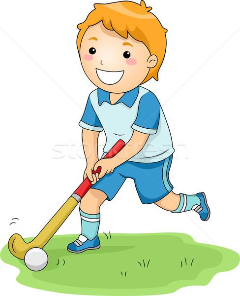 Gyeplabda illusztráció kicsi fiú boldogan játszik Stock fotó © lenm