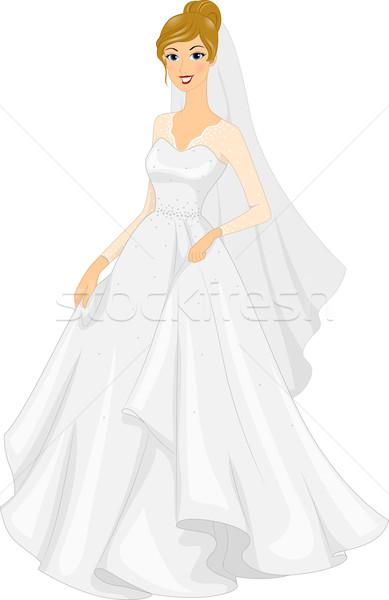 Vestido de noiva ilustração noiva posando mulher menina Foto stock © lenm