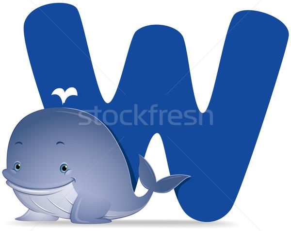 Bálna vágási körvonal rajz aranyos vektor illusztráció Stock fotó © lenm