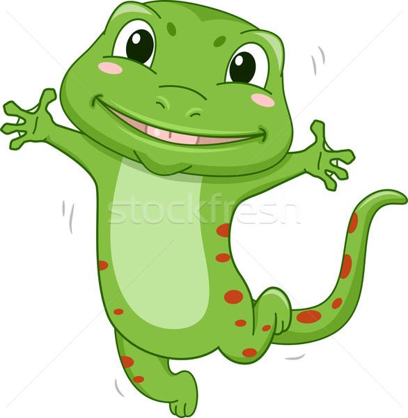 Gelukkig gekko illustratie springen springen dier Stockfoto © lenm