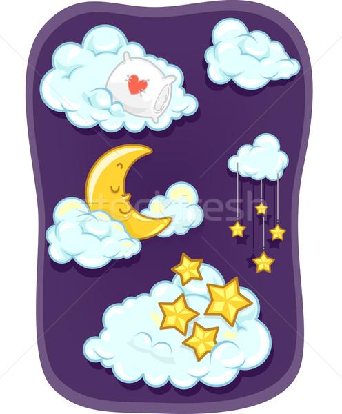 Lună nor stele element ilustrare dormit Imagine de stoc © lenm