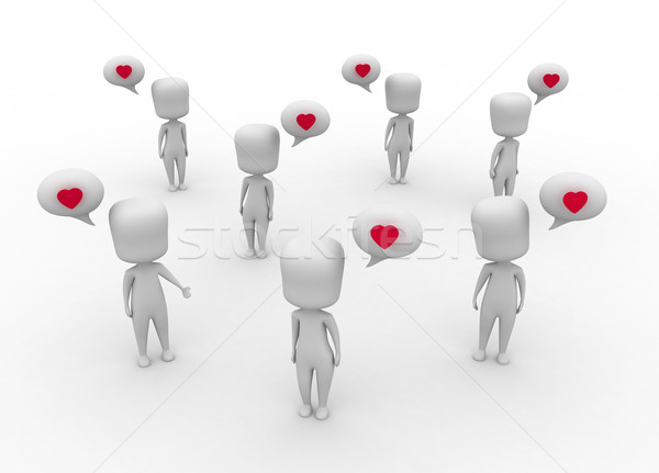 Langue amour 3d illustration foule groupe cartoon Photo stock © lenm