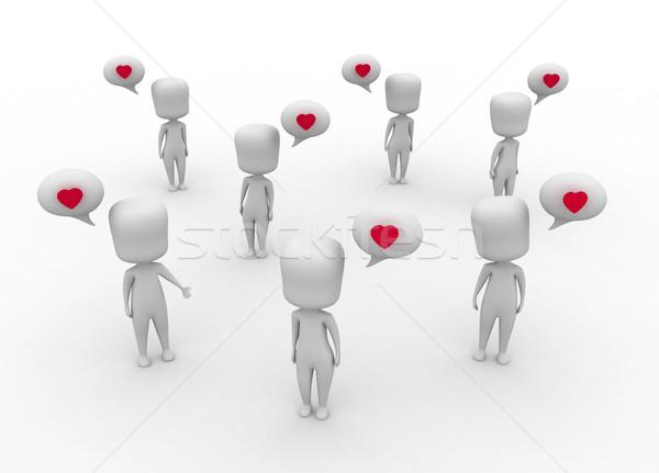 Linguagem amor ilustração 3d multidão grupo desenho animado Foto stock © lenm