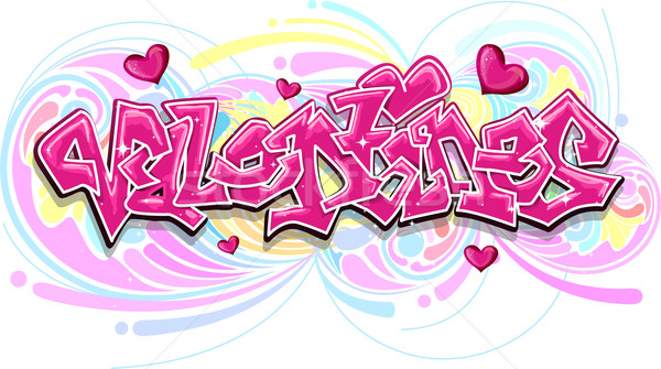 Valentin graffitis illustration mot design Photo stock © lenm
